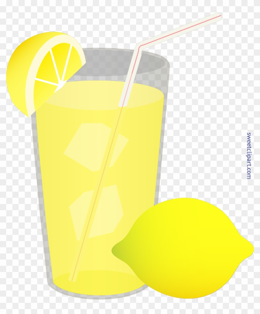 Iced Glass Straw Wedge Clip Art Sweet - Cup Of Lemonade Clipart #1361078