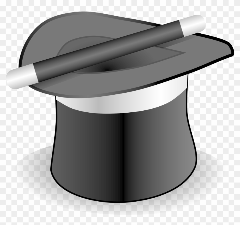 Vector Illustration Of Magic Hat - Magician Hat And Wand Ornament (oval) #212593
