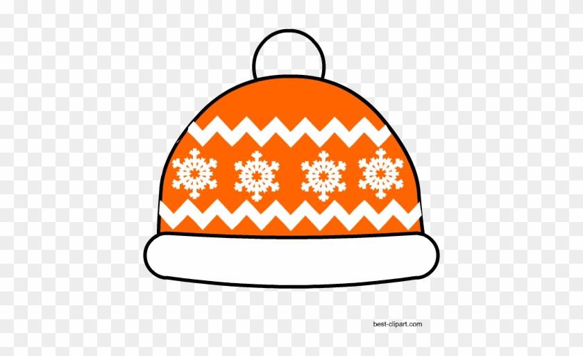 Orange Snow Cap, Free Clip Art - Winter Prop For Phto Booth #213031