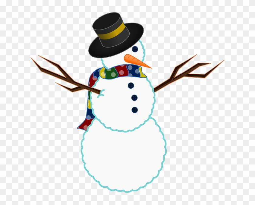 Winter, Snow, Twigs, Buttons, Carrot, Scarf - Snowman Free Clip Art #213844