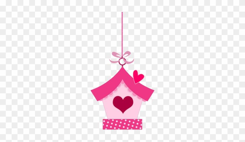 Pink In Love Birds Clipart - Topo De Bolo Jardim Encantado Para Imprimir #214032