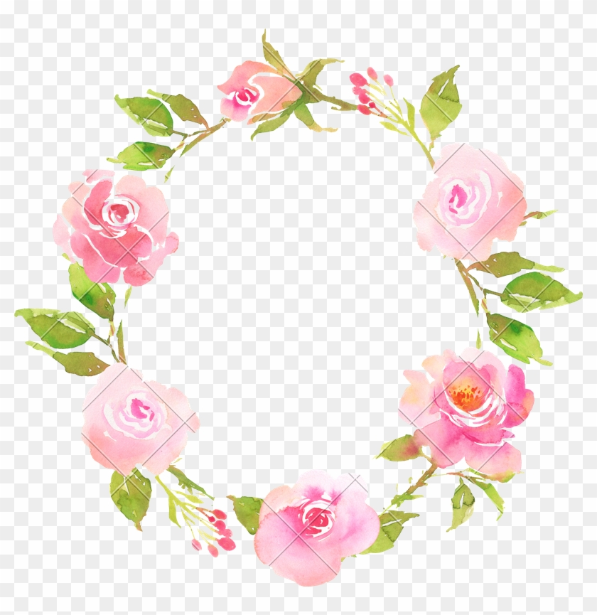 Flower Bohemian Wreath With Roses - Watercolor Wreath Flower Png #1363344