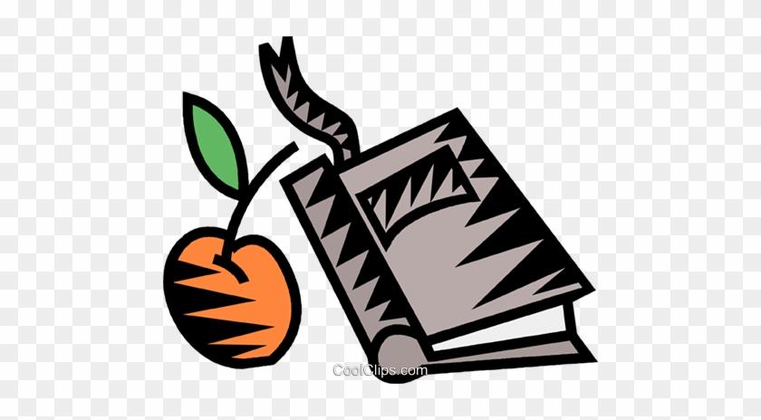 Apple With School Book Royalty Free Vector Clip Art - School #1364222