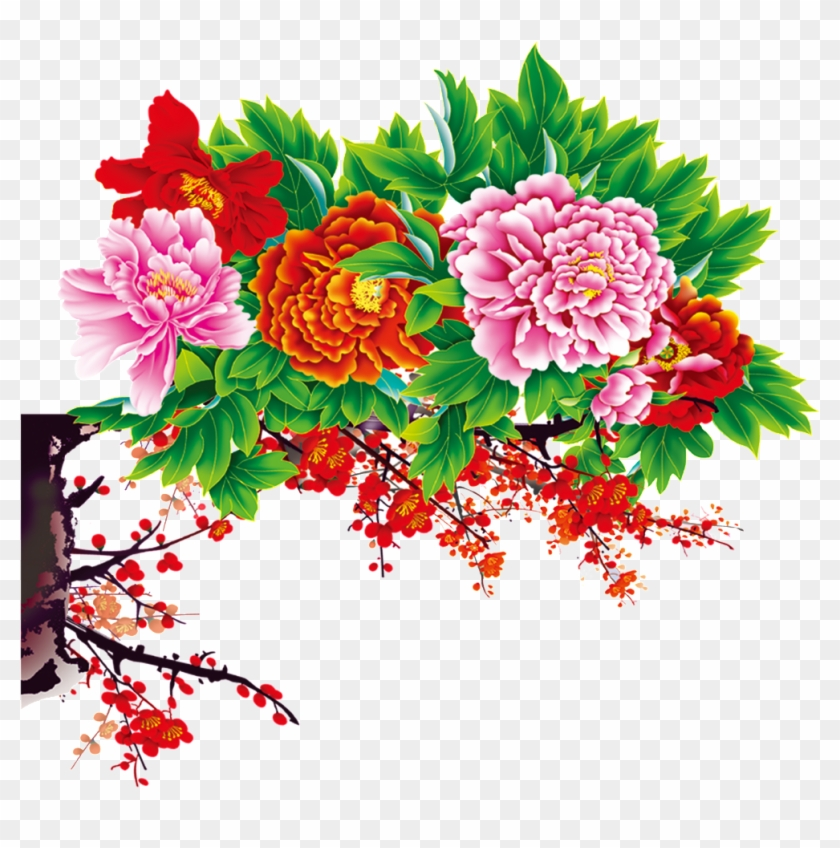 Ink Painting Peony Chinese Style - Flowers Psd Files Free Download #1365508