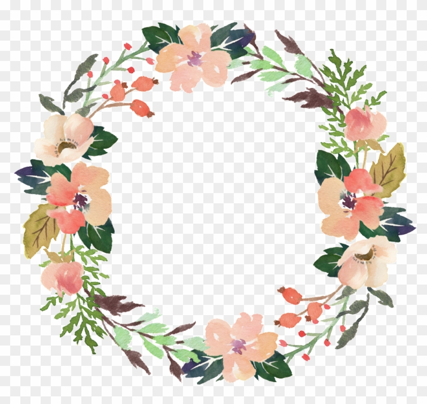 Fresh Meat Pink Flowers Hand Drawn Garland Decorative - Vector Art Flower Png #1365620