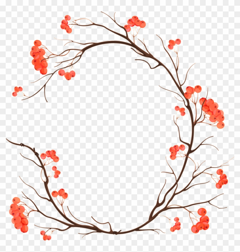 Christmas Border Design Png.Orange Pink Flowers Hand Drawn Garland Decorative Elements