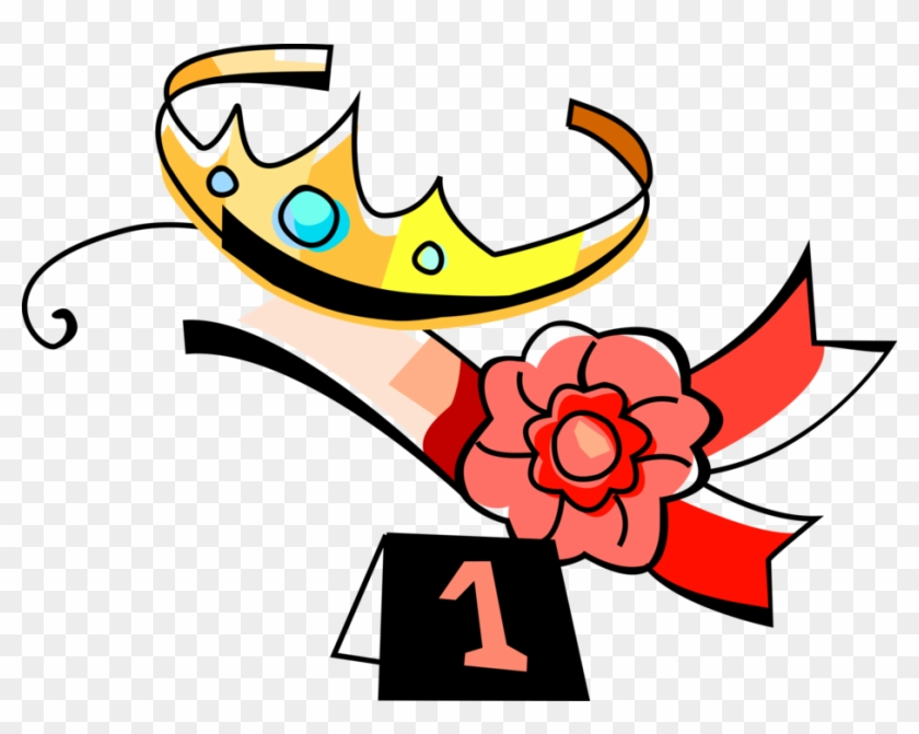 Vector Illustration Of Beauty Queen Tiara Crown And - Beauty Contest Clipart #1368193