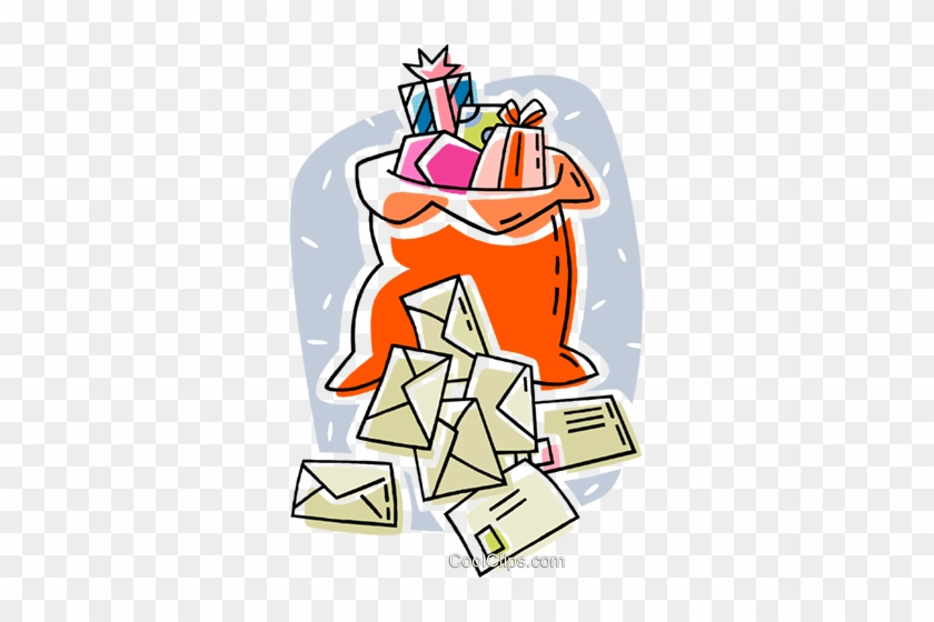 Santa Sack With Christmas Envelopes Royalty Free Vector - Christmas Day #1373666