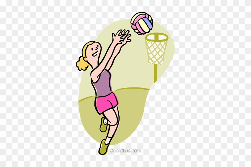 Basketball Player Royalty Free Vector Clip Art Illustration - Girls Playing Netball Clipart #1375451