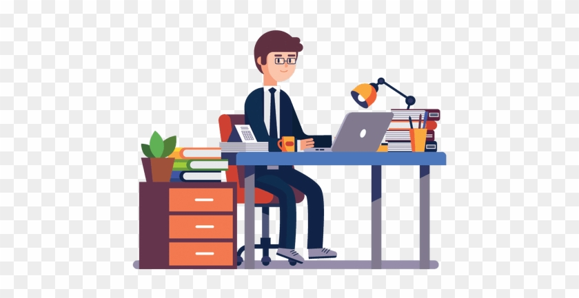 Problogger Office Desk - Man Working In Office Clipart #1379617