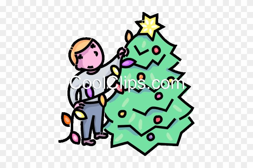 Weihnachtsbaum Clipart.Bespannung Lichter Um Den Weihnachtsbaum Vektor Clipart Bespannung