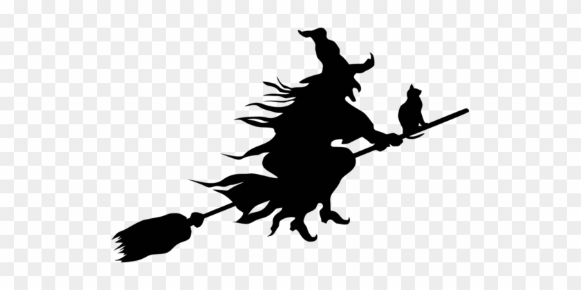 Witchcraft Silhouette Witch's Broom Drawing - Flying Witch Silhouette Png #1380586