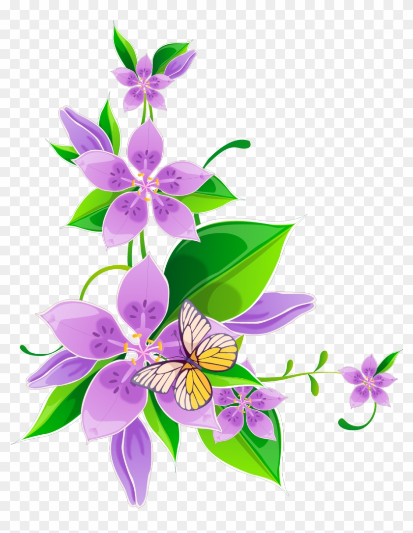 Svg Library Library Flower Purple Corner Flowers Transprent - New