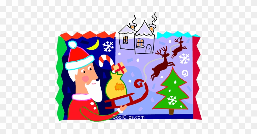 Santa And His Sleigh With Reindeer Royalty Free Vector - Santa Claus #1382256
