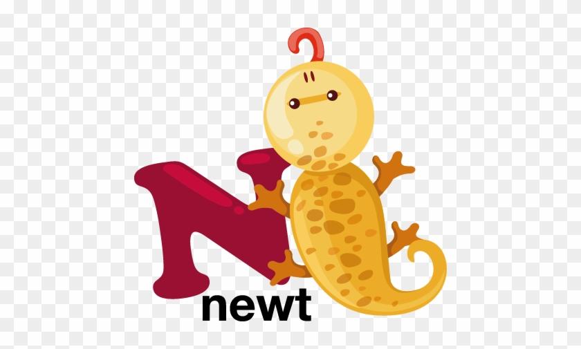 N For Newt Kids Sticker - Animal Alphabet Letter N #1382692