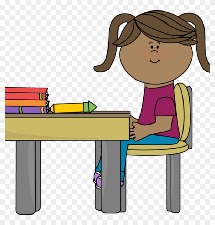 Student Working At Desk Clipart School Girl Sitting - Student Sitting At Desk Clipart #1384874