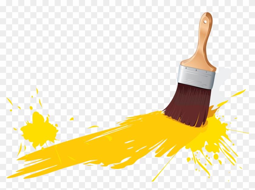 Yellow Paint Brush Clipart - Paint Brush Clip Art #216304