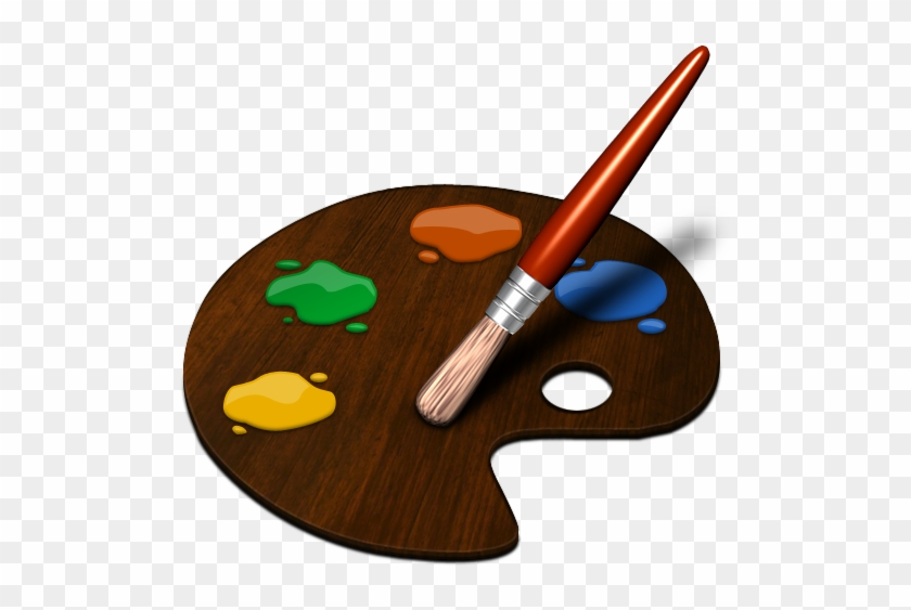Clipart Illustration Of A Paint Palette - Easy Paint Brush Drawing #217701