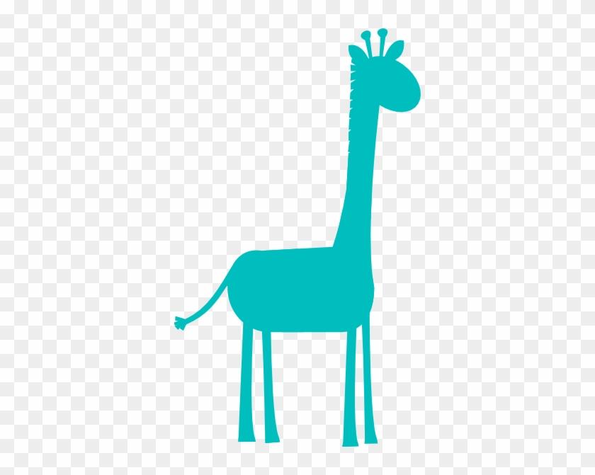 Aqua Giraffe Profile Clip Art At Clker - Girl Pink Giraffe Clip Art #218097