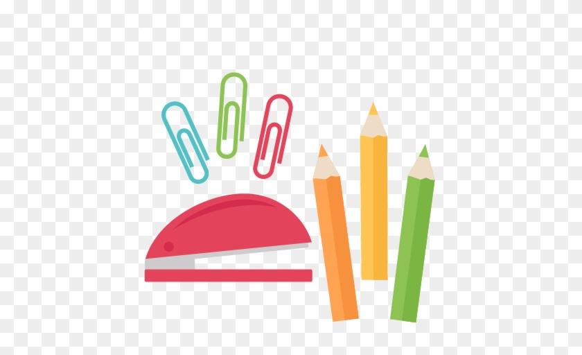 School Supply Set Svg Scrapbook Cut File Cute Clipart - School Supplies Clipart Png #218215