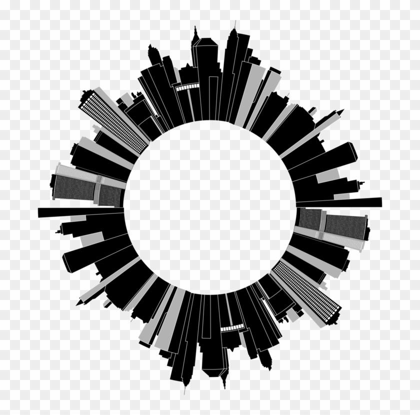 Cityscape Skyline Skyscraper Building Sticker - Round Cityscape #1390598