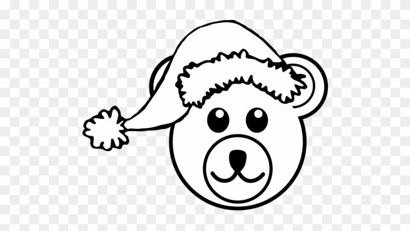 Cartoon Bear Clipart - Christmas Teddy Bear Clipart Black And White #1392188