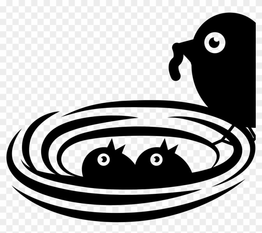 Newborn Birds In Nest Being Nourished By Mother Bird - Birds Nest Icon Png #1397577