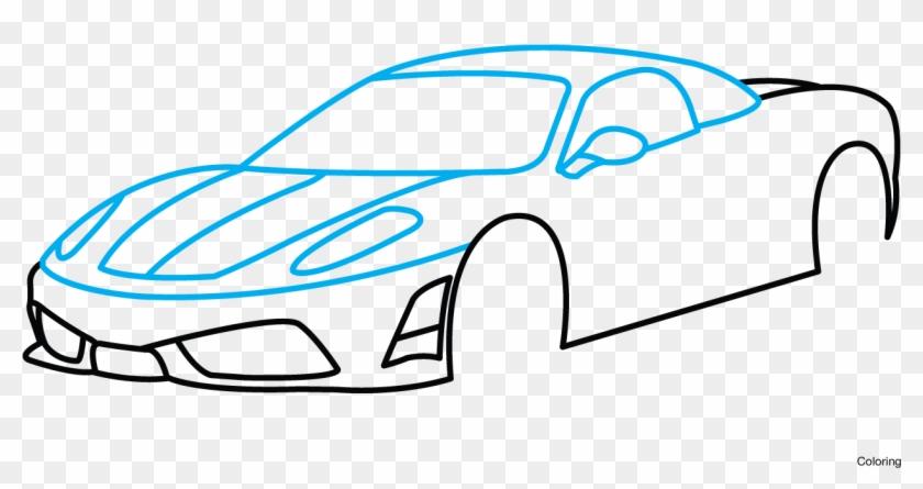 Drawing Mustang Side View Ferrari Car Drawing Easy Free