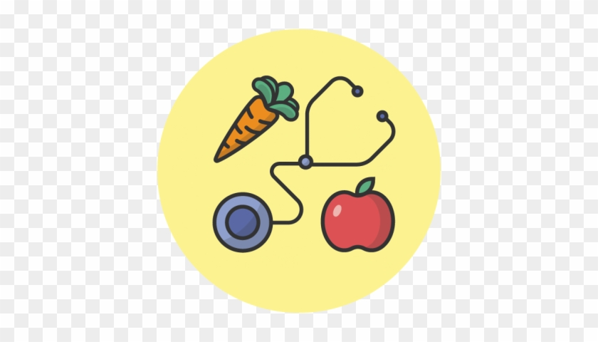 An Illustration Of A Doctor's Stethoscope, An Apple - Physician #1398948