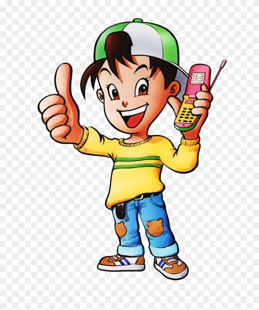 Image Freeuse Library Cellphone Clipart Drawing - Mobile Cartoon In Hand #1403880