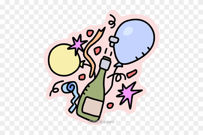 Bottle Of Champagne With Balloons Royalty Free Vector - Party Time Have Fun #1404810