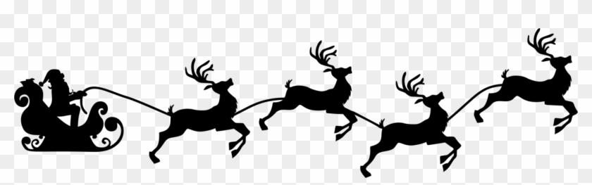 Santa Claus Reindeer Christmas Day Sled Silhouette - Santa And Reindeer Silhouette #1409347