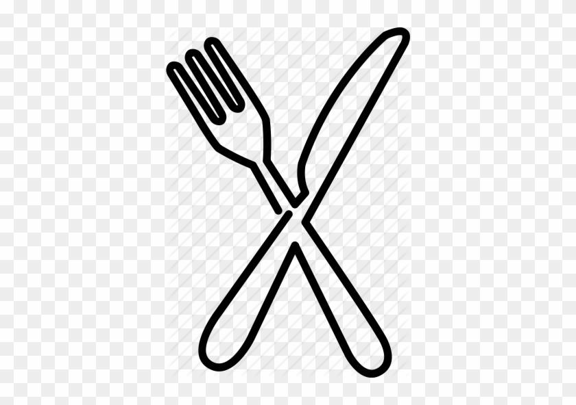 Fork Drawing Cutlery Dinner Eat Food Fork Knife Utensils - Fork And Knife Drawing Png #1410460
