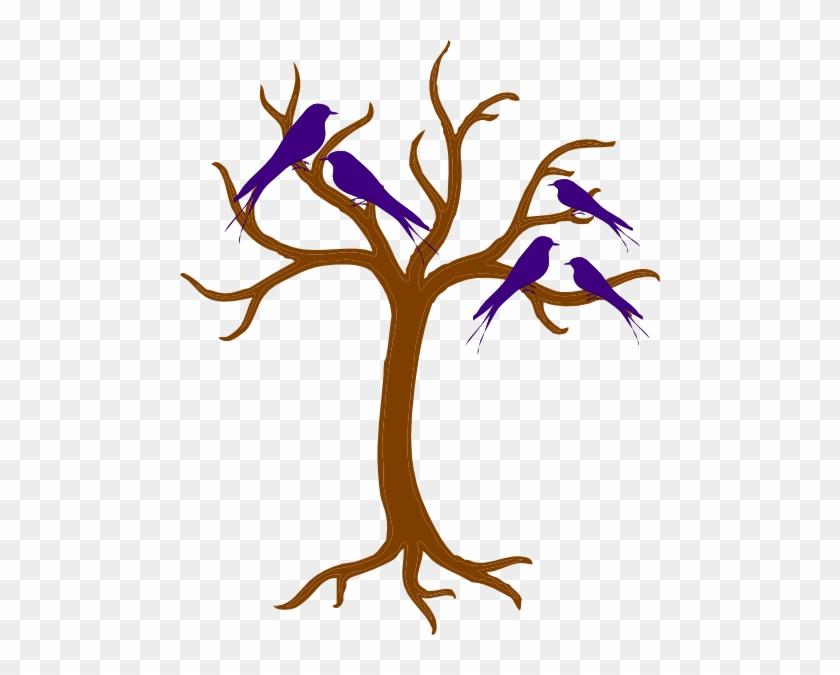 Blue Family Of Birds Png Clip Art - Bare Tree Clip Art #219184