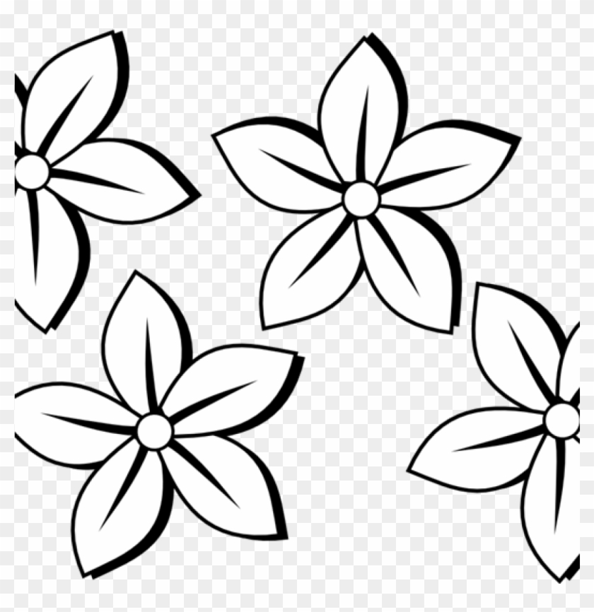 Flower Clipart Black And White Free Flowers Clip Art - Black And White Flower Simple -5629