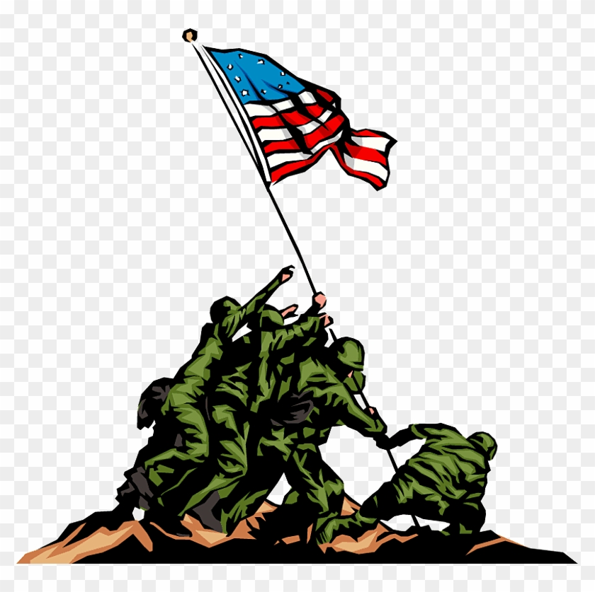 Free Veterans Day Clip Art In Vector Format 3 - Soldiers Putting Up American Flag #221028
