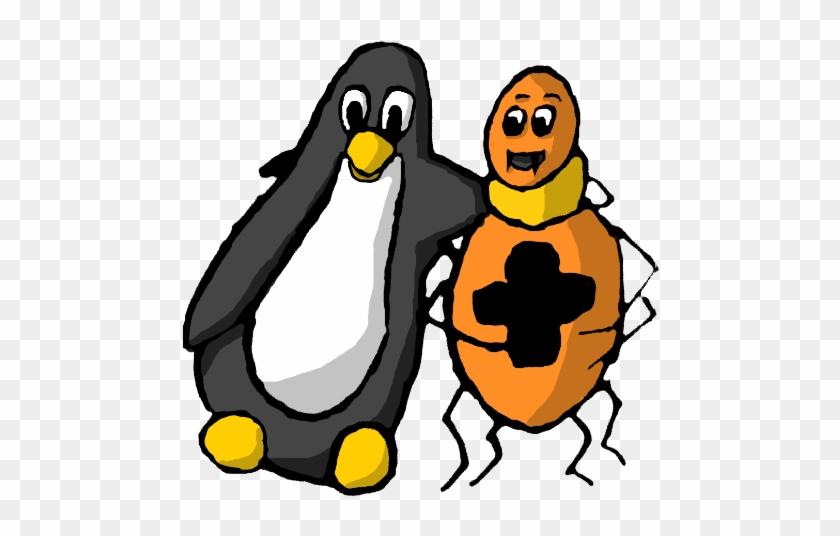 Animals/ Birds/ Cartoon/ Penguin With Spider - Tux Paint Animals #221100