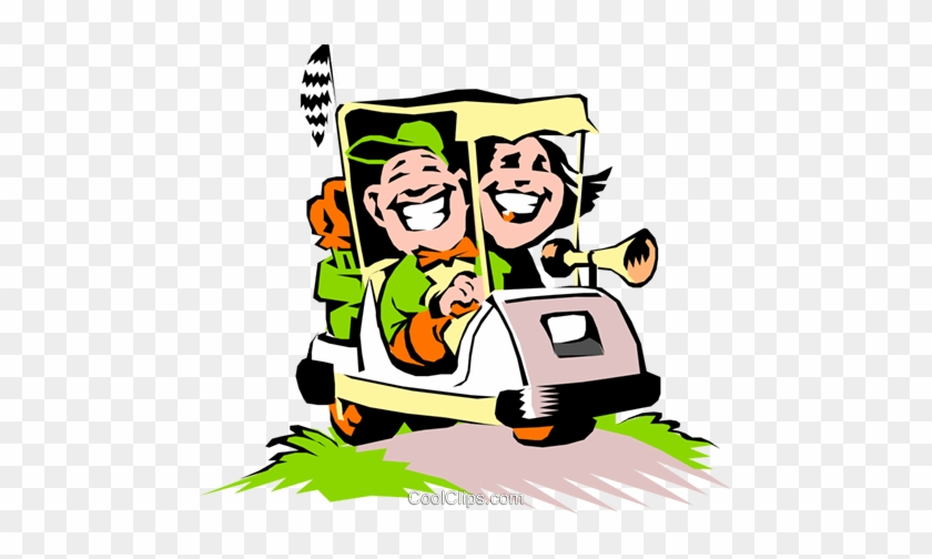 Golf Vector Clipart Of A Couple In A Cartoon Golf Cart Couples Golf Clip Art Free Transparent Png Clipart Images Download