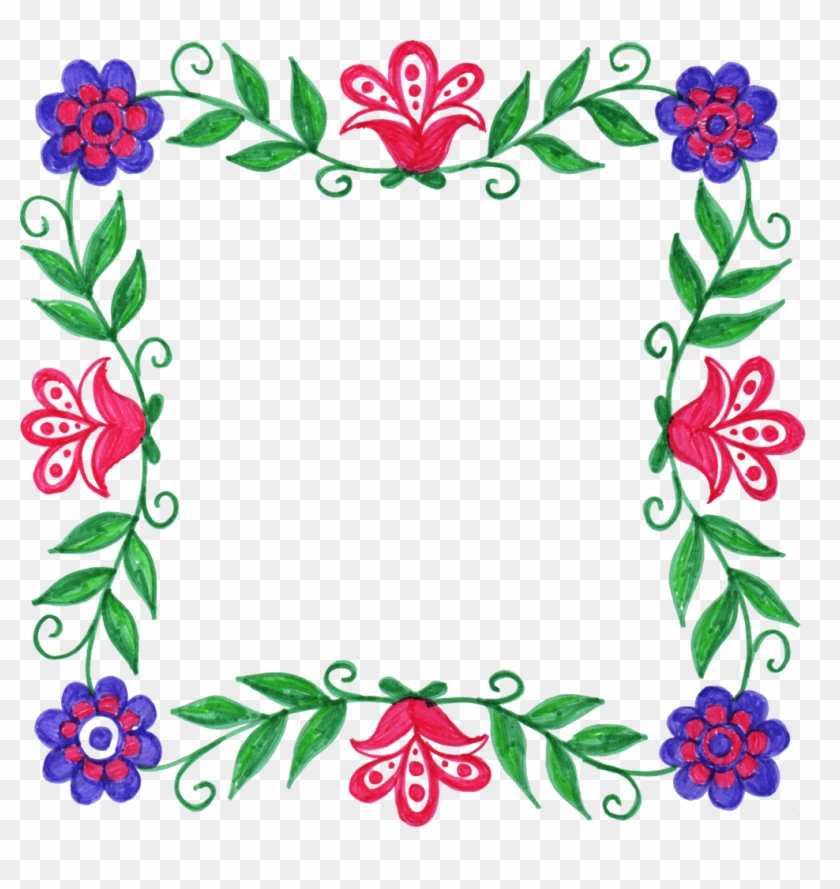 1718 × 1684 Px - Flower Square Frame Png #221623