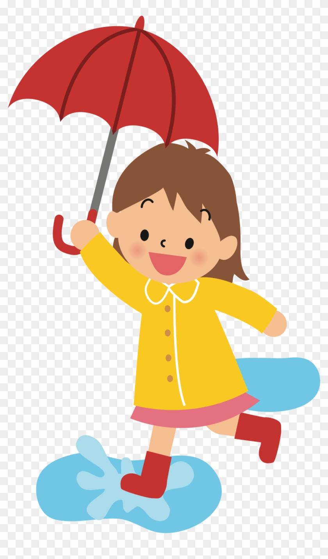 Big Image Girl With Umbrella Cartoon Free Transparent Png