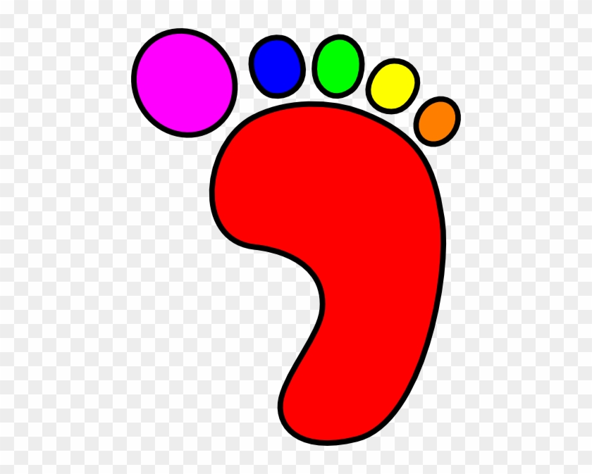 Colorful Clipart Foot - Colour Foot Print Template #222142