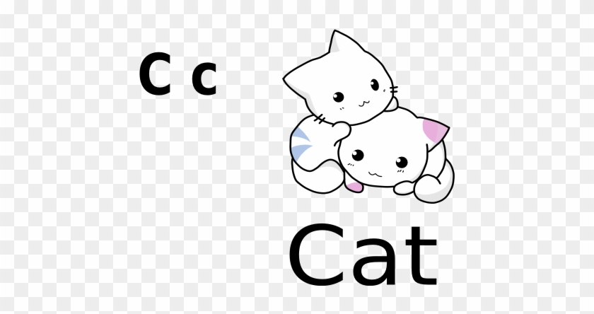 C For Cat Black White Line Art 555px - Cute Cartoon Cat Drawing #222319