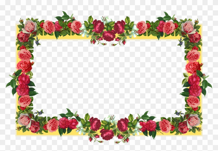 Free Yellow And Red Vintage Rose Frame And Vintage - Border Design Flower Rose #222330