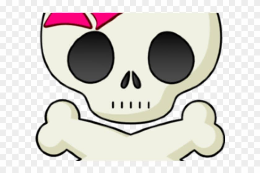 Skeleton Head Clipart Girly Skull - Skull And Crossbones #1411818