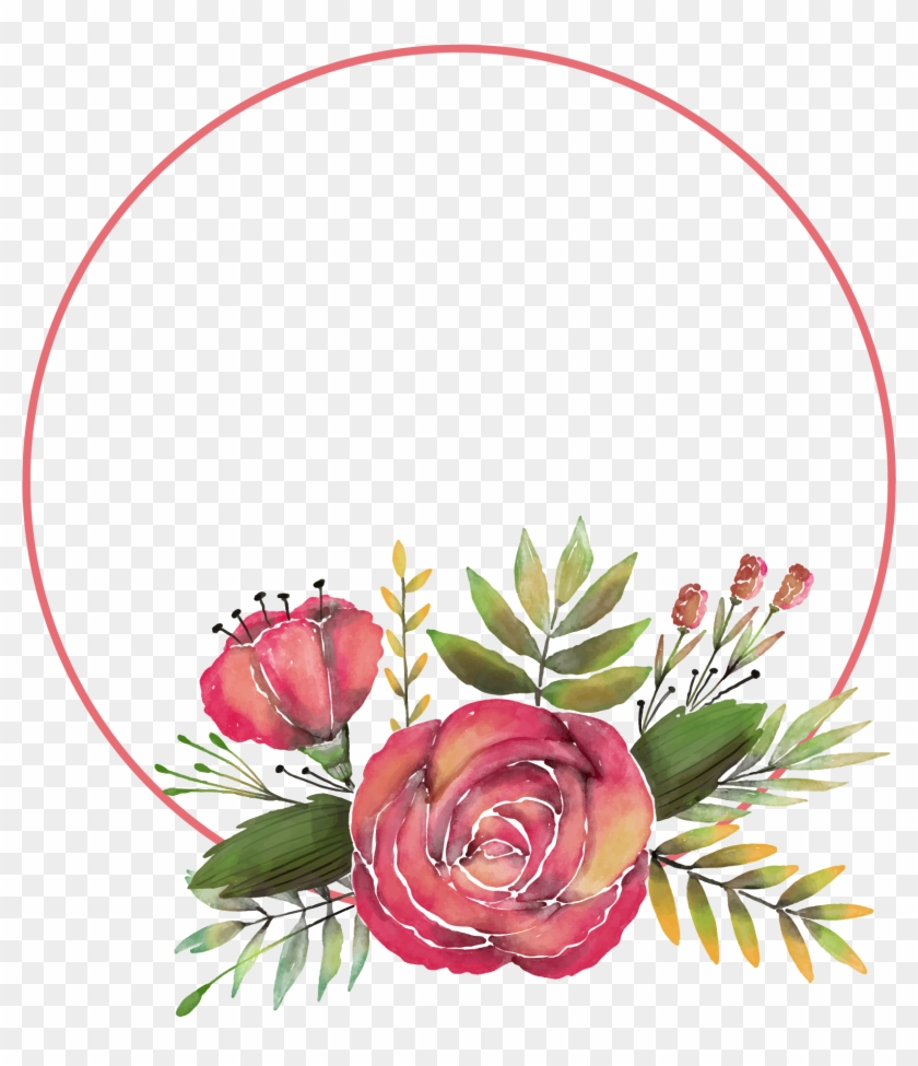 Clipart Hand Painted Rose Flower Frame Transprent Png