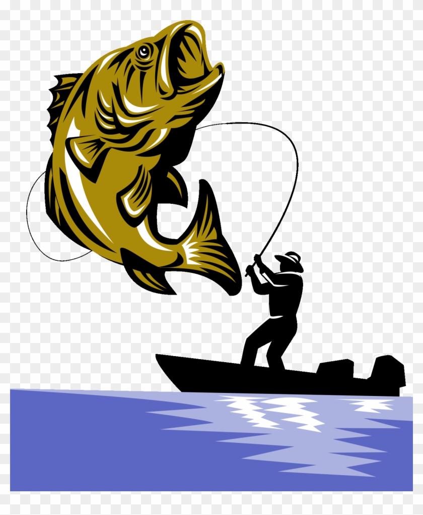 Bass Fishing Fishing Rod Largemouth Bass - Largemouth Bass Fish And Fly Fisherman #1416808