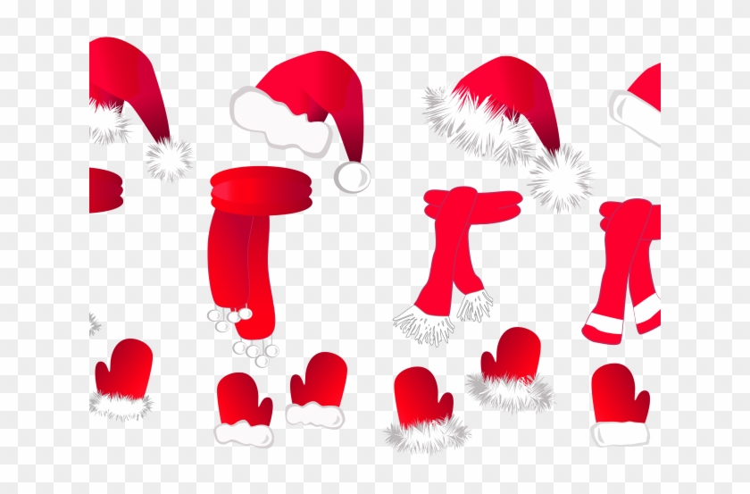 Gloves Clipart Coat Hat - Christmas Set: Santa Claus Hat, Scarf A Large Mug #1417903