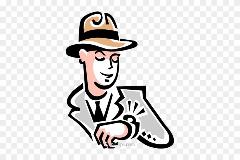 Man Looking At Watch Royalty Free Vector Clip Art Illustration - Looking At Watch Png #1421026