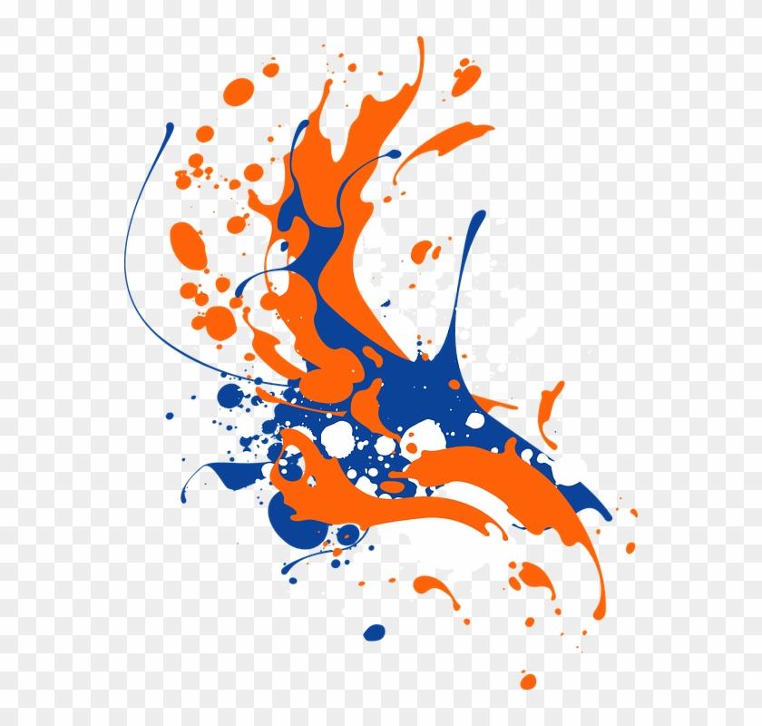 Splash Clipart Ink Paint Splash - Orange Blue Color Splash #1428179