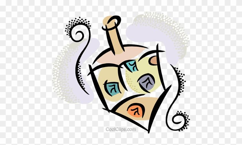 Spinning Dreidel Royalty Free Vector Clip Art Illustration - Dreidel #1429646
